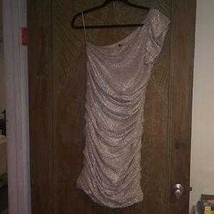 Express Silver One Shoulder Dress Sz 10